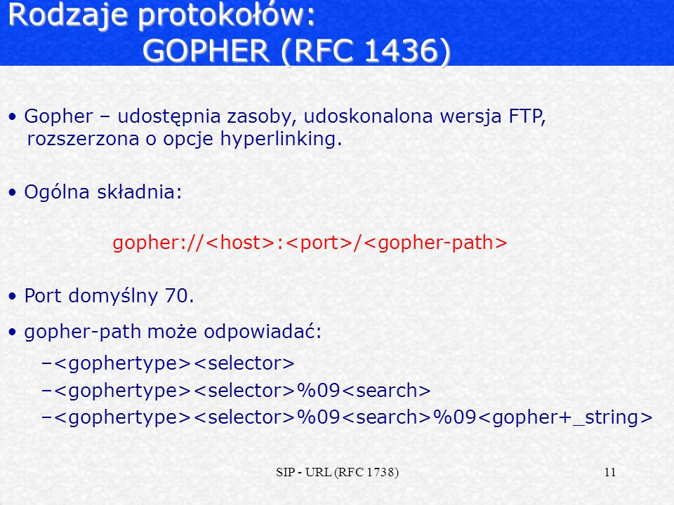 Rodzaje protokołów: GOPHER (RFC 1436)