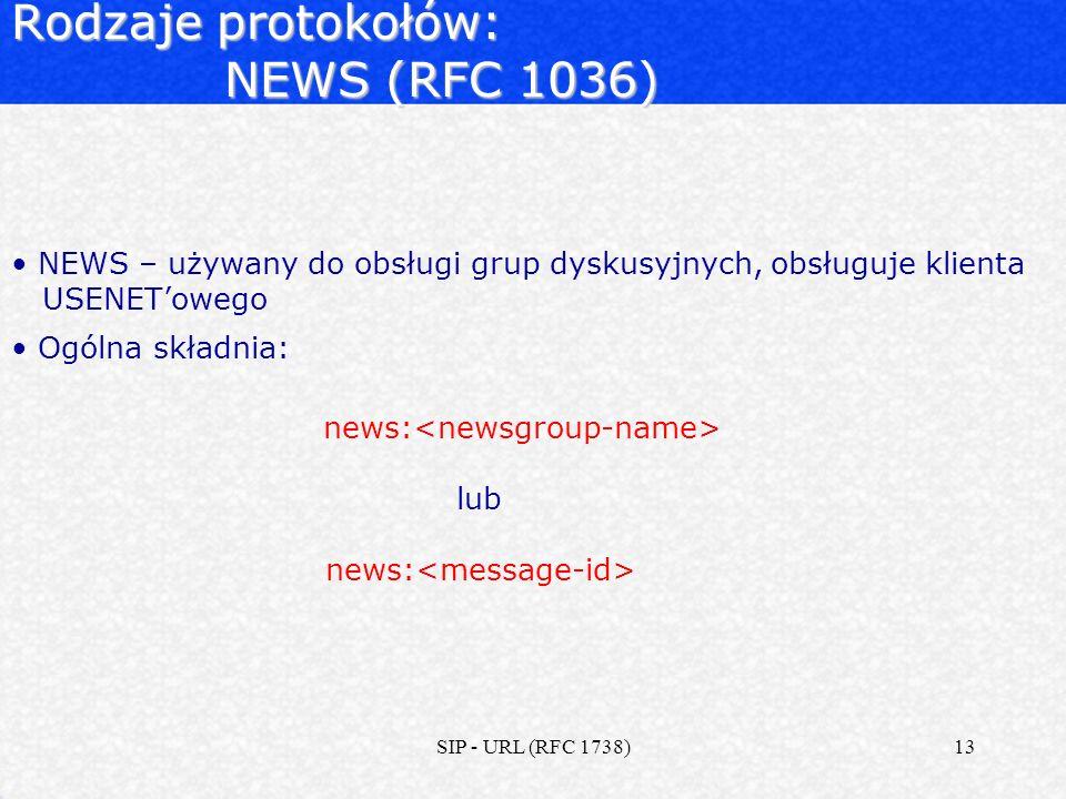 Rodzaje protokołów: NEWS (RFC 1036)
