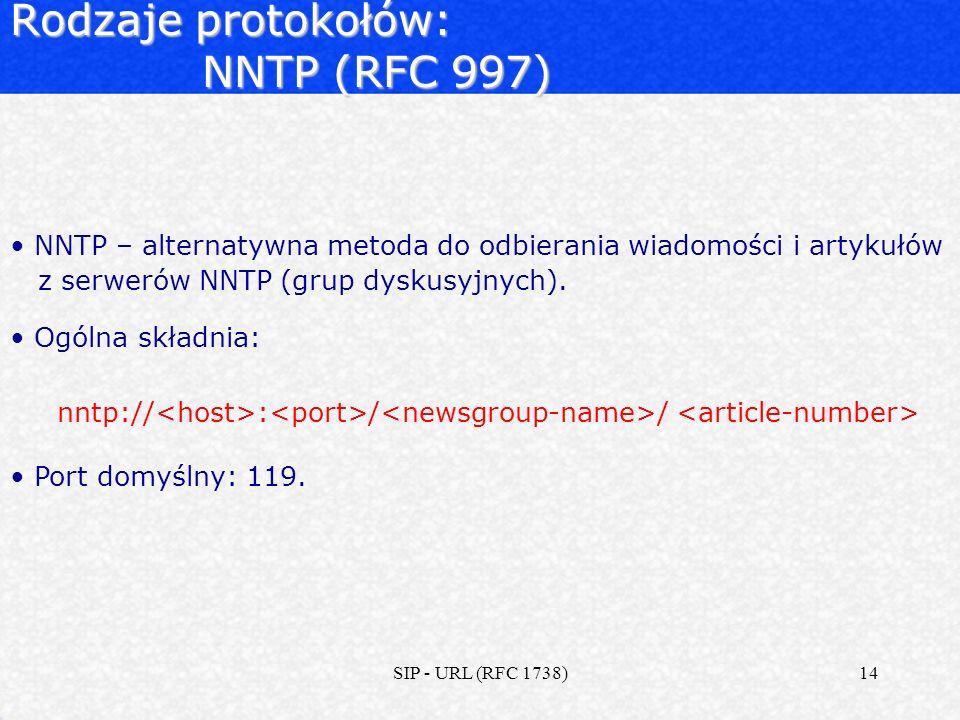 Rodzaje protokołów: NNTP (RFC 997)