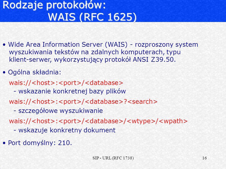 Rodzaje protokołów: WAIS (RFC 1625)