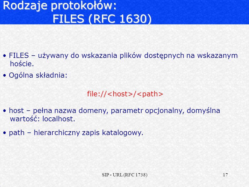 Rodzaje protokołów: FILES (RFC 1630)
