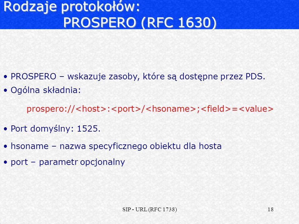 Rodzaje protokołów: PROSPERO (RFC 1630)