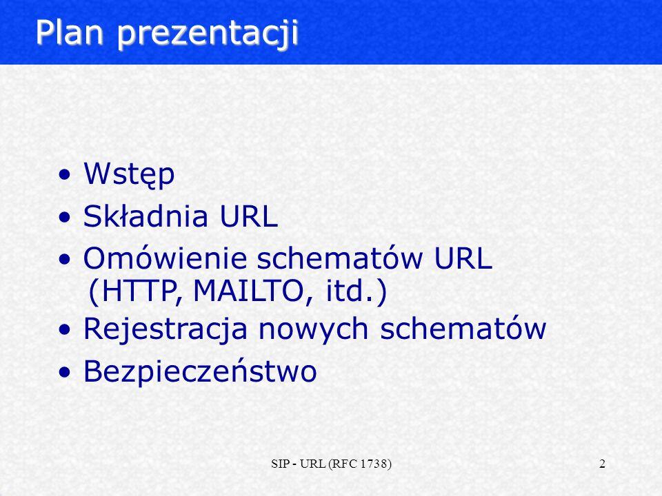 Plan prezentacji Wstęp Składnia URL Omówienie schematów URL