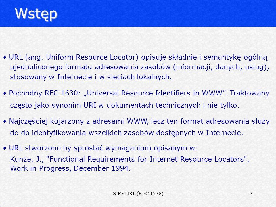 Wstęp URL (ang. Uniform Resource Locator) opisuje składnie i semantykę ogólną.