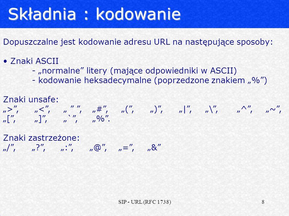 """Składnia : kodowanie Dopuszczalne jest kodowanie adresu URL na następujące sposoby: Znaki ASCII. - """"normalne litery (mające odpowiedniki w ASCII)"""