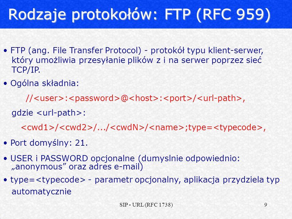 Rodzaje protokołów: FTP (RFC 959)