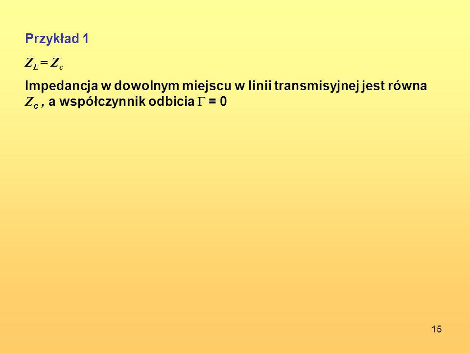Przykład 1 ZL = Zc.