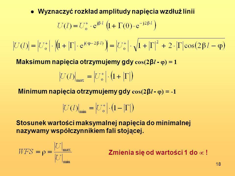 ● Wyznaczyć rozkład amplitudy napięcia wzdłuż linii