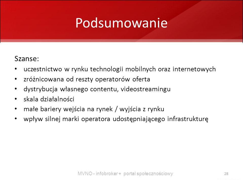 Podsumowanie Szanse: uczestnictwo w rynku technologii mobilnych oraz internetowych. zróżnicowana od reszty operatorów oferta.