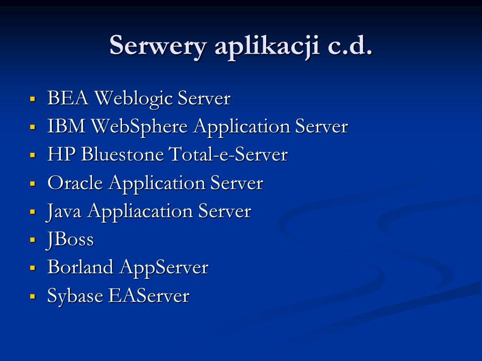 Serwery aplikacji c.d. BEA Weblogic Server