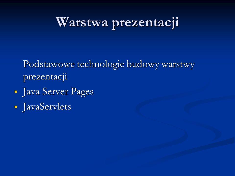 Warstwa prezentacji Podstawowe technologie budowy warstwy prezentacji