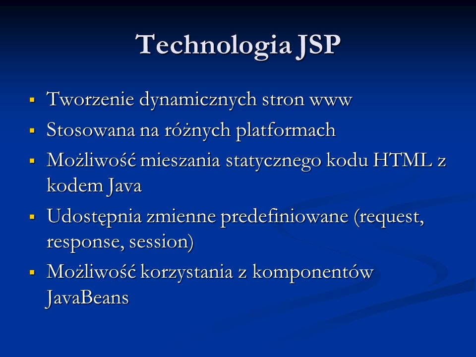 Technologia JSP Tworzenie dynamicznych stron www
