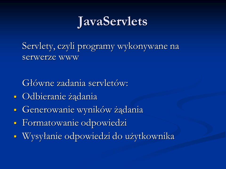 JavaServlets Servlety, czyli programy wykonywane na serwerze www