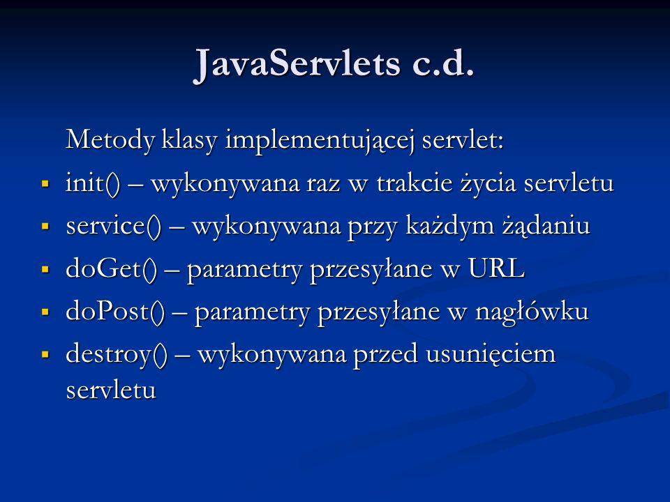 JavaServlets c.d. Metody klasy implementującej servlet: