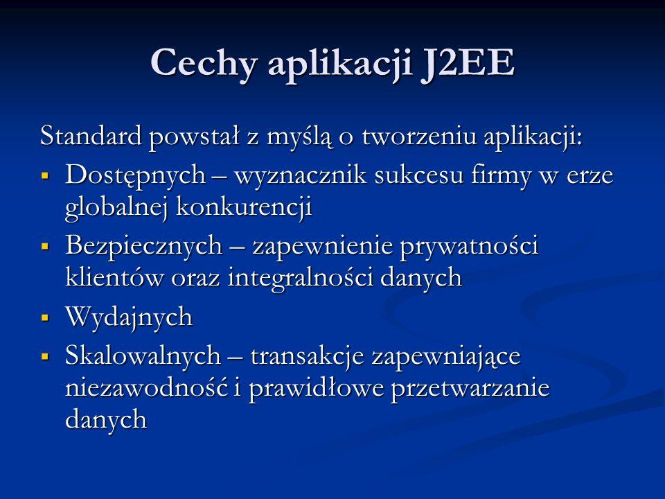 Cechy aplikacji J2EE Standard powstał z myślą o tworzeniu aplikacji: