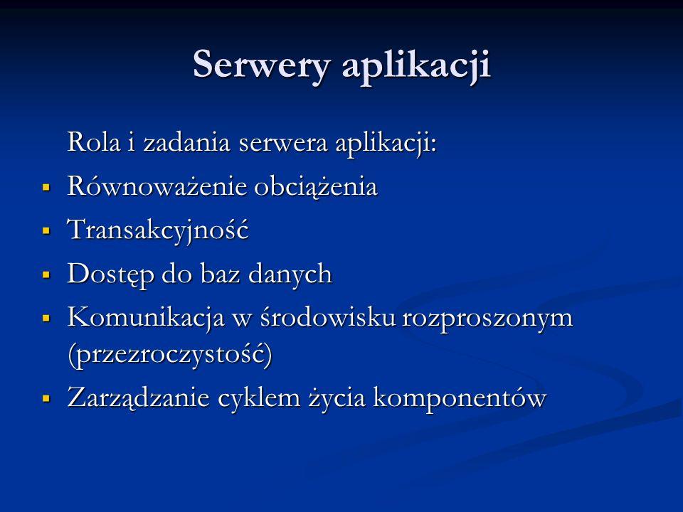 Serwery aplikacji Rola i zadania serwera aplikacji: