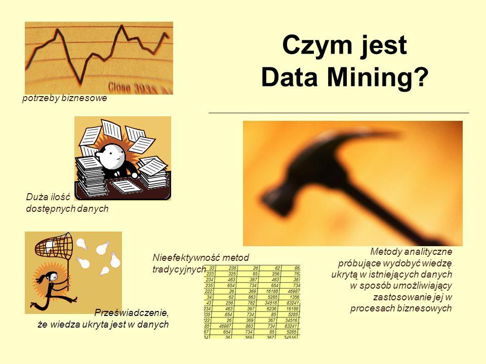 Czym jest Data Mining potrzeby biznesowe Duża ilość dostępnych danych