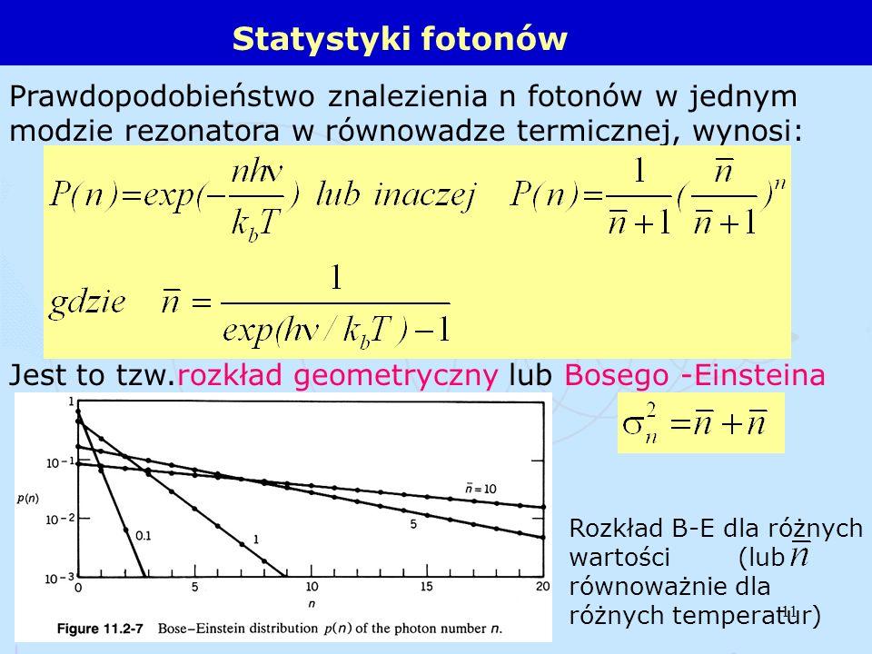 Statystyki fotonów Prawdopodobieństwo znalezienia n fotonów w jednym modzie rezonatora w równowadze termicznej, wynosi: