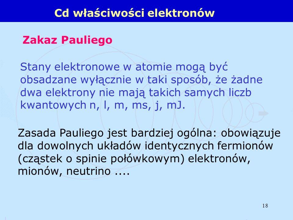 Cd właściwości elektronów