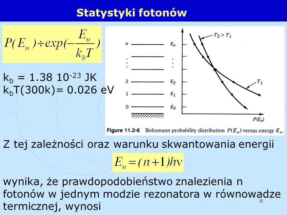 Statystyki fotonówkb = 1.38 10-23 JK. kbT(300k)= 0.026 eV. Z tej zależności oraz warunku skwantowania energii.