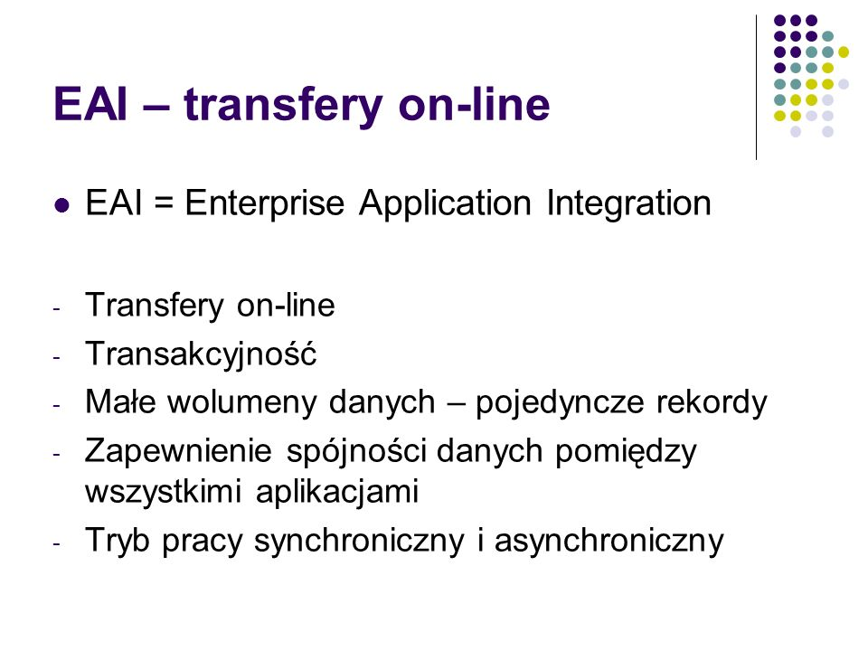 EAI – transfery on-line