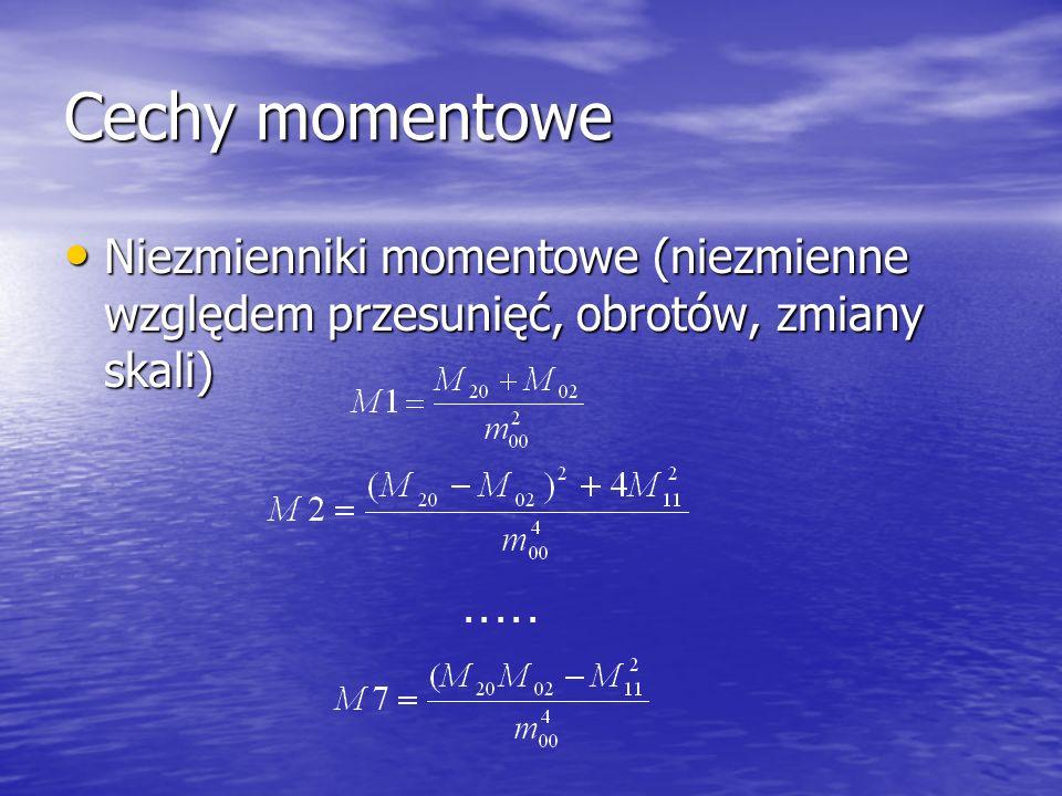 Cechy momentowe Niezmienniki momentowe (niezmienne względem przesunięć, obrotów, zmiany skali) . . . . .