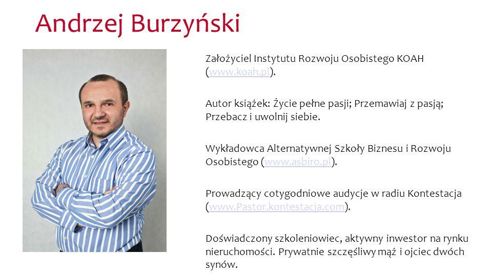 Andrzej Burzyński Założyciel Instytutu Rozwoju Osobistego KOAH (www.koah.pl).