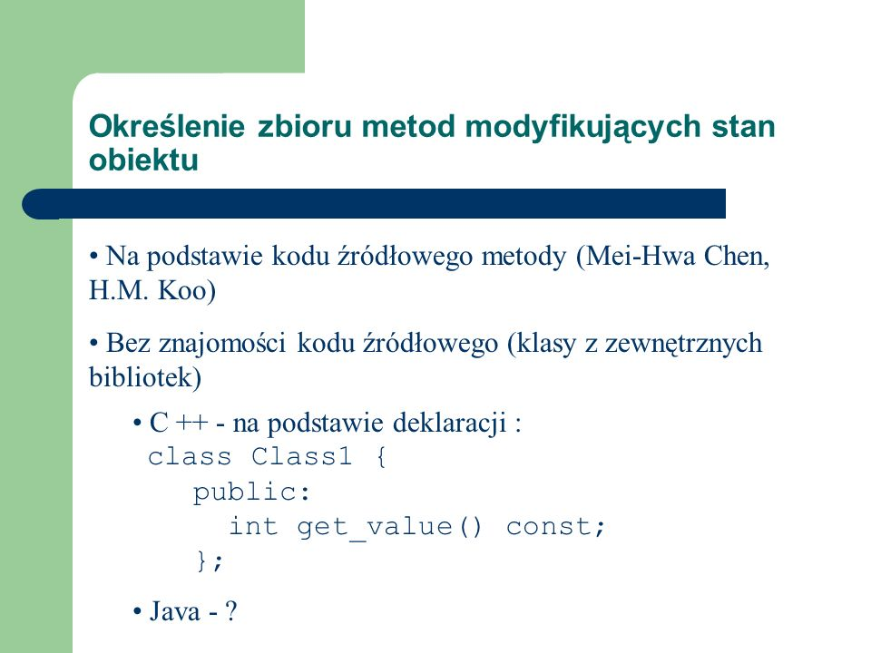Określenie zbioru metod modyfikujących stan obiektu