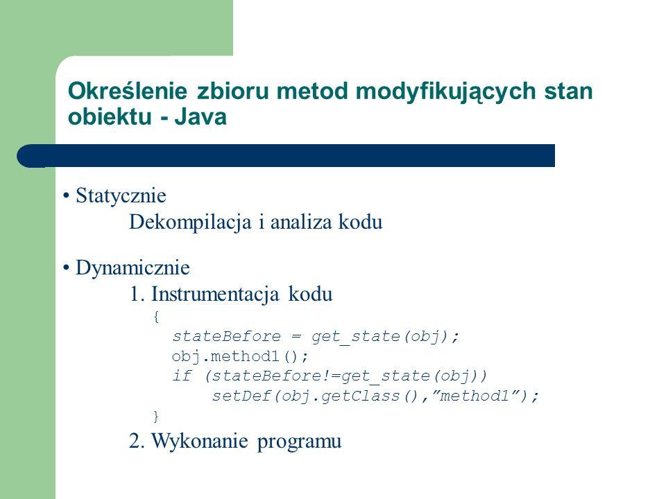Określenie zbioru metod modyfikujących stan obiektu - Java