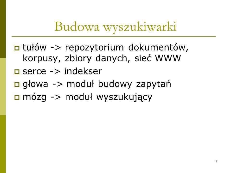 Budowa wyszukiwarki tułów -> repozytorium dokumentów, korpusy, zbiory danych, sieć WWW. serce -> indekser.