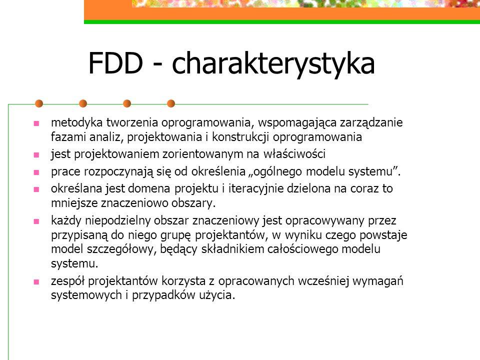 FDD - charakterystykametodyka tworzenia oprogramowania, wspomagająca zarządzanie fazami analiz, projektowania i konstrukcji oprogramowania.
