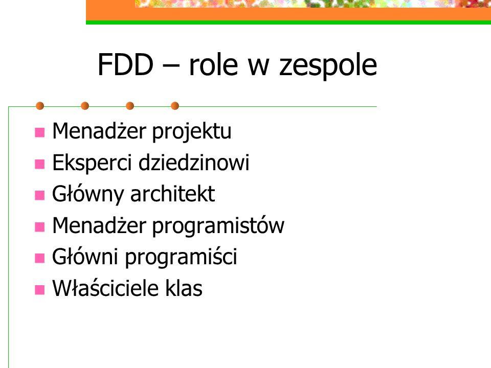 FDD – role w zespole Menadżer projektu Eksperci dziedzinowi