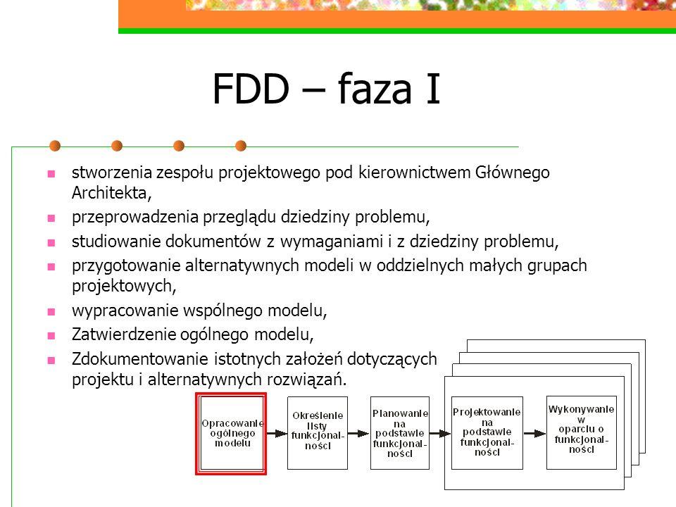 FDD – faza I stworzenia zespołu projektowego pod kierownictwem Głównego Architekta, przeprowadzenia przeglądu dziedziny problemu,