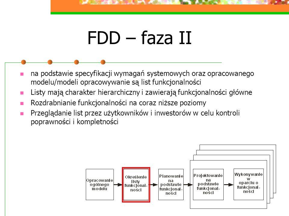 FDD – faza IIna podstawie specyfikacji wymagań systemowych oraz opracowanego modelu/modeli opracowywanie są list funkcjonalności.