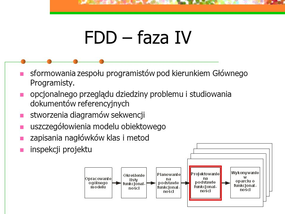 FDD – faza IV sformowania zespołu programistów pod kierunkiem Głównego Programisty.