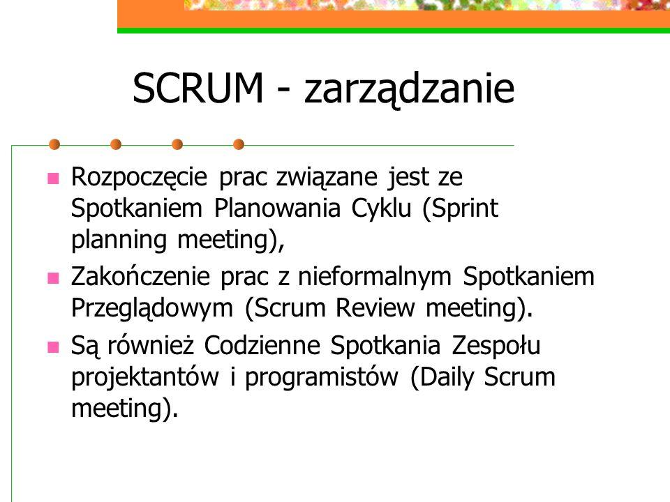 SCRUM - zarządzanie Rozpoczęcie prac związane jest ze Spotkaniem Planowania Cyklu (Sprint planning meeting),