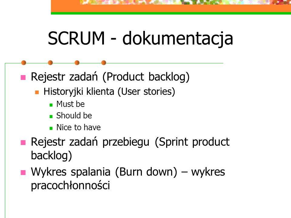 SCRUM - dokumentacja Rejestr zadań (Product backlog)
