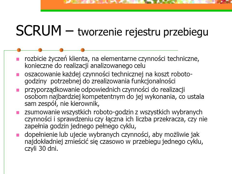 SCRUM – tworzenie rejestru przebiegu