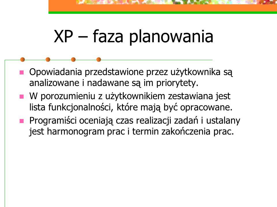 XP – faza planowania Opowiadania przedstawione przez użytkownika są analizowane i nadawane są im priorytety.