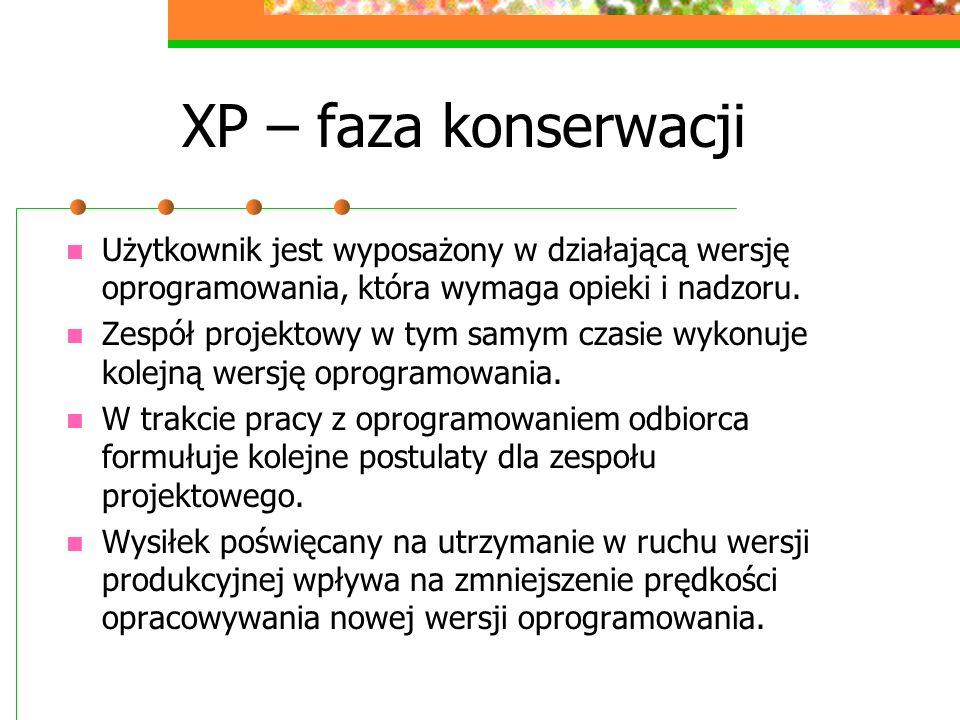 XP – faza konserwacji Użytkownik jest wyposażony w działającą wersję oprogramowania, która wymaga opieki i nadzoru.