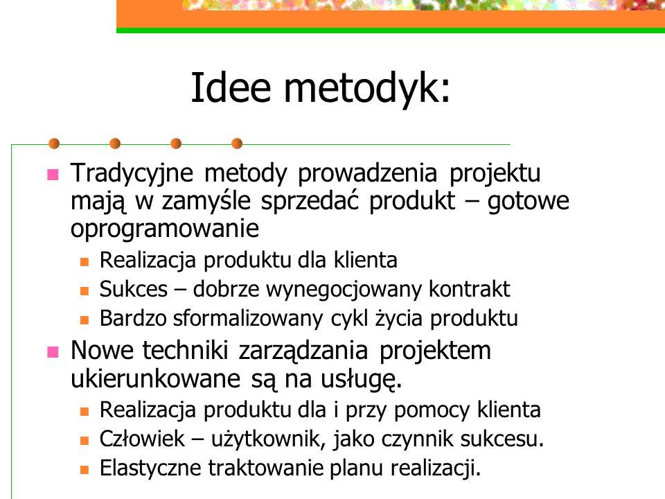 Idee metodyk:Tradycyjne metody prowadzenia projektu mają w zamyśle sprzedać produkt – gotowe oprogramowanie.
