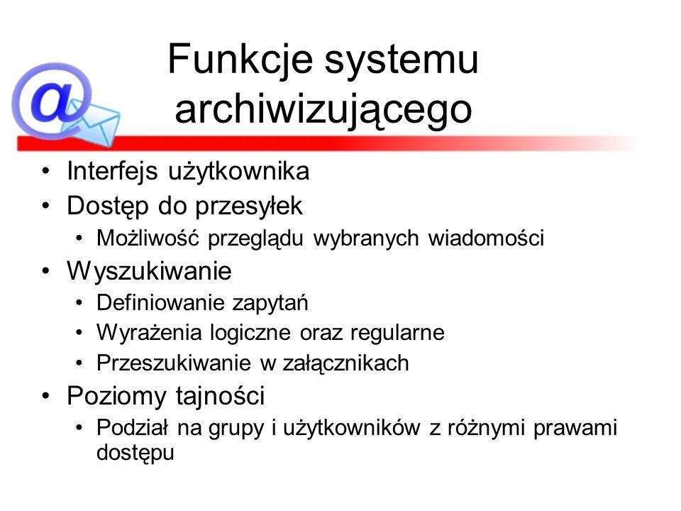 Funkcje systemu archiwizującego