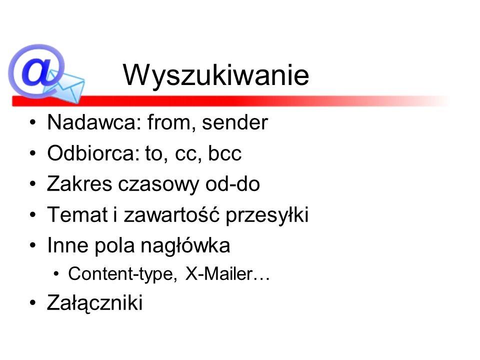 Wyszukiwanie Nadawca: from, sender Odbiorca: to, cc, bcc