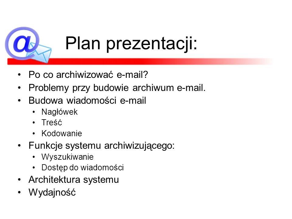 Plan prezentacji: Po co archiwizować e-mail
