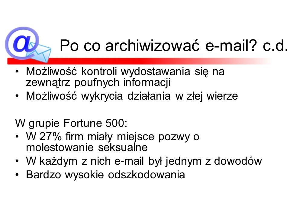 Po co archiwizować e-mail c.d.