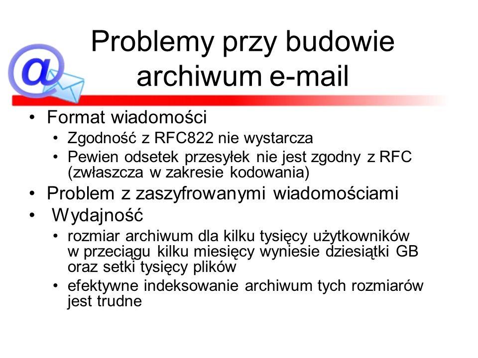 Problemy przy budowie archiwum e-mail