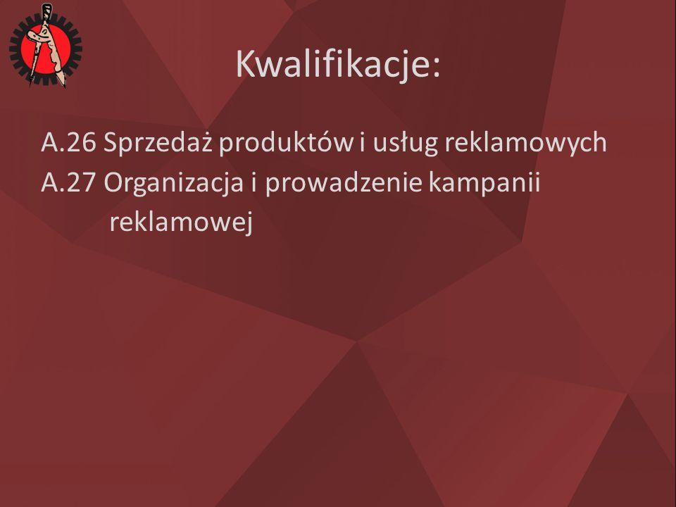 Kwalifikacje: A.26 Sprzedaż produktów i usług reklamowych A.27 Organizacja i prowadzenie kampanii reklamowej