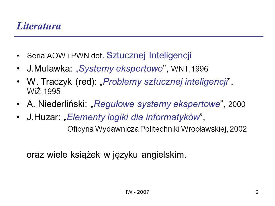 "Literatura J.Mulawka: ""Systemy ekspertowe , WNT,1996"