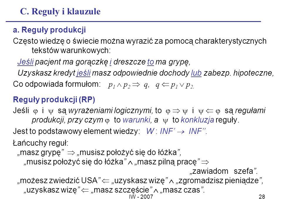 C. Reguły i klauzule a. Reguły produkcji