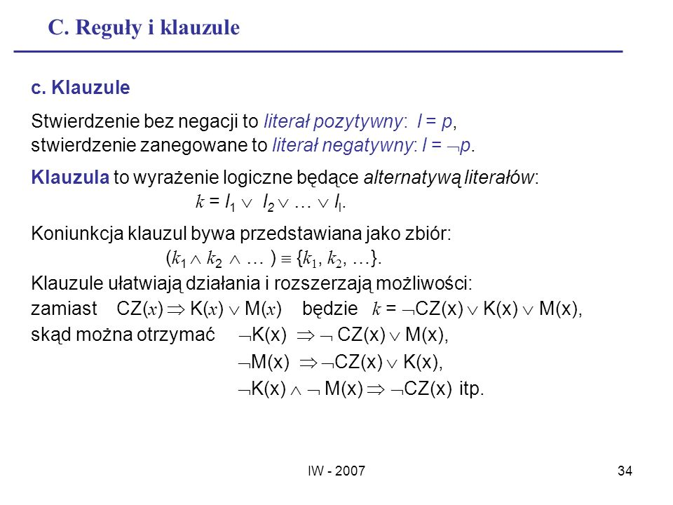 C. Reguły i klauzule c. Klauzule